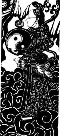 中国古典图案-太极图和人物以及卷曲纹