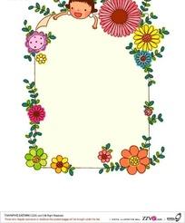 美丽花朵围成的边框AI素材