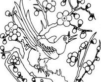 叶子和飞鸟构成的方形图案图片