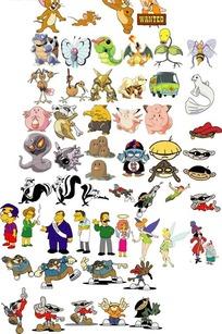 多款手绘卡通人物及动物形象