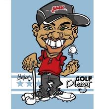 手绘Q版打高尔夫球的男生