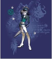 手绘卡通人物-拿剑的女战士