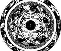 中国古典图案-卷曲纹和波浪纹构成的圆形图案图片