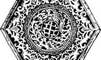中国古典图案-卷曲纹和几何形构成的六边形图案