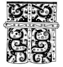 带虎豹图案的中国古典元素图形