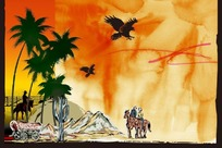 骑马的人物和风景插画