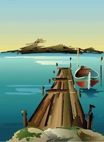 河边探出的木板码头与小船EPS矢量文件
