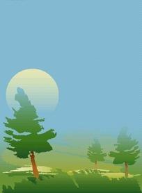 野外草地上的树木与太阳EPS矢量文件