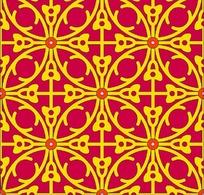 粉底黄色循环对称雕刻图案花边