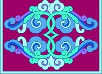 粉底蓝色循环对称雕刻图案花边