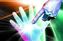 科技光背景上右手食指指着左手手掌