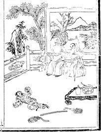 中国古代人物插画-人物和栏杆树木