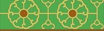 传统绿底黄色圆形花朵图案分层素材