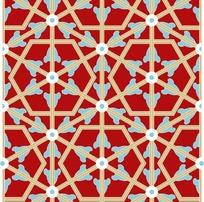 红底六边形花朵图案分层素材