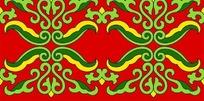 红底绿黄循环对称雕刻图案花边