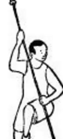 手绘练习武术的男士简笔画