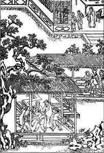 中国古代人物插画-房屋里的许多人物和树木