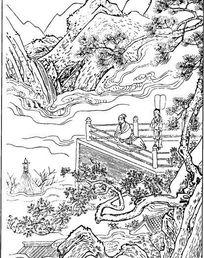 中国古代人物插画-栏杆旁的男子和山峦树木