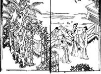 中国古代人物插画-人物和湖石树木