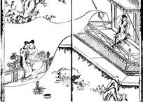 中国古代人物插画-坐在栏杆上的男女