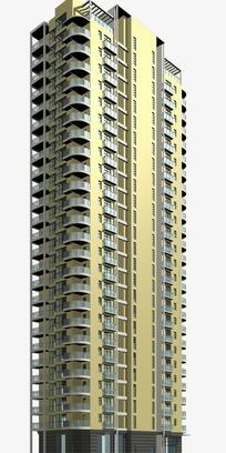 现代对称塔式高层住宅楼模型