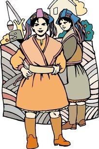 傣族少女矢量图_卡通形象图片