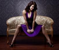 精品紫色性感美女模特人物高清摄影图片
