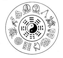 中国古代器物-飞鸟和花朵叶子以及斧头等