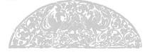 中国古典图案-展翅的凤凰和卷曲的藤蔓构成的半圆形图案