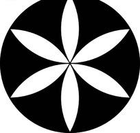 黑色圆形里的白色花朵图案图片