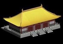 黄色屋顶中国古建筑模型