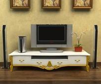 欧式抽象壁画电视柜客厅模型