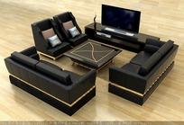 欧式时尚黑色皮质沙发茶几组合