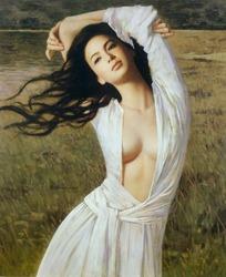 双臂抬起坦胸露乳的女人油画