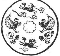 中国古典图案-展翅的凤凰和飞奔的马构成的斑驳图案