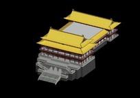 中国古建筑大殿模型