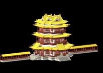 中国古建筑阁楼厢房模型