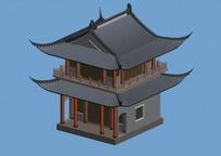 中国古建筑寺院模型