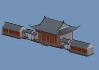 中国古建筑院墙模型