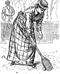 插画—低头捡球的古代欧洲女人