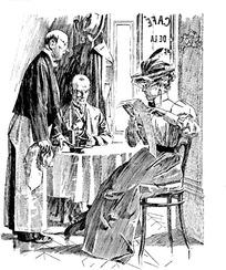 插画—饭桌边看报纸的古代欧洲男女