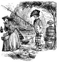 插画—郊外钓鱼的古代欧洲男女