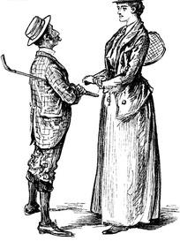 插画—面对面的古代欧洲男女