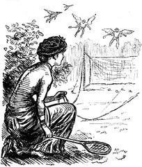 插画—拿着网球拍蹲着的古代欧洲女人