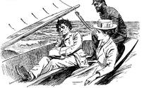 插画—坐在船上的古代欧洲男女
