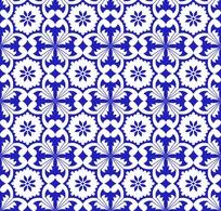 蓝色背景浅蓝色花朵四方连续图案图片图片