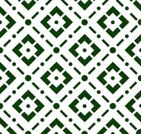 绿色背景白色方形四方连续图案