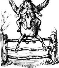 欧式漫画骑马越过栅栏的绅士