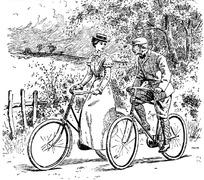 黑白骑自行车的孩子插画图片图片