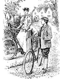 推着自行车的男人和女人素写